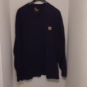 Carhartt 3 Button Blue Long Sleeve Pullover